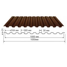 Профнастил коричневый оцинкованный RAL 8017 С-21  0.4x1150x2000