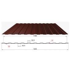 Профнастил коричневый оцинкованный RAL 8017 С-8  0.4x1150x2000