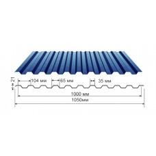Профнастил синий оцинкованный RAL 5005 С-21  0.4x1150x2000