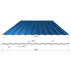 Профнастил синий оцинкованный RAL 5005 С-8  0.4x1150x2000