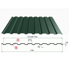 Профнастил зеленый оцинкованный RAL 6005 С-20  0.4x1150x2000