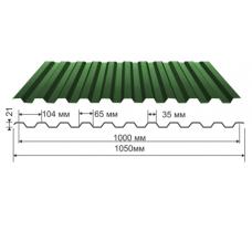 Профнастил зеленый оцинкованный RAL 6005 С-21  0.4x1150x2000