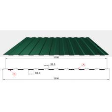 Профнастил зеленый оцинкованный RAL 6005 С-8  0.4x1150x2000