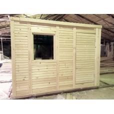Деревянная бытовка 4 (3,0м х 2,3м х 2,5м | каркас: крыша односкатная оцинкованная, брус | внешняя отделка из вагонки, втуренняя из ДВП) | Цена: 56 000р