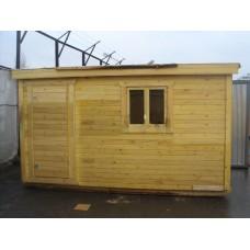 Деревянная бытовка 3 (4,0м х 2,3м х 2,5м | каркас: крыша односкатная оцинкованная, брус  | внешняя отделка из вагонки, втуренняя из ДВП) | Цена: 58 000р